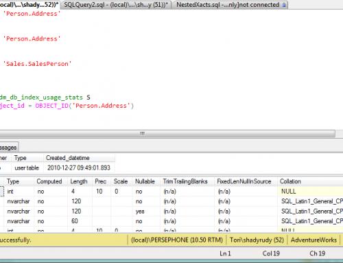 Información de las Tablas en SQL Server 2005/2008
